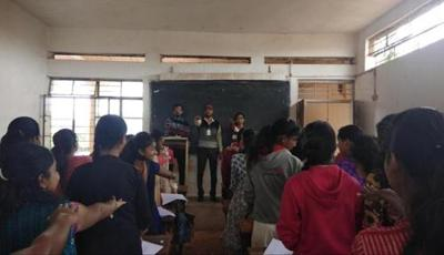 NSS Programme officer R. D. Madhale and H. A. Managaokar is collective taken oath along with students to remain deadicted.