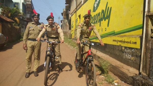 NCC cadets using the Bicycles