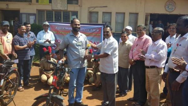 Felicitation programme for Bicycle Users Staff member and Students by Director of JES