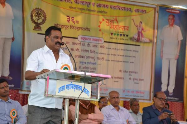 Ashokanna Charati - Delivering presedencial speech on the inaugaral function of District Level Youth Festival